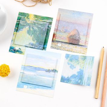 30 sheets/pack Monet Impression Notepad Hand Painting Oil Painting Paper Sticky Notes Memo Pad Bookmark Stationery Gift