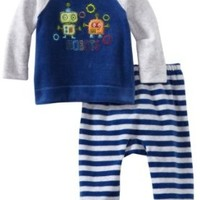 Absorba Baby Two Piece Footed Pant Set, Robot, 0-3 Months
