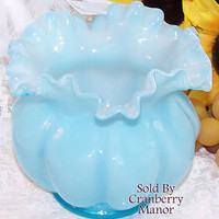 Vintage Fenton Blue Overlay Squat Melon Art Glass Vase G571