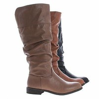 Oksana59 Whisky by Wild Diva, Women Round Toe Knee High Slouchy Boots