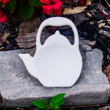 "Smooth Cute Tea Kettle Magnet Decor 4.3"" Ready to Paint Pottery Ceramic Bisque"