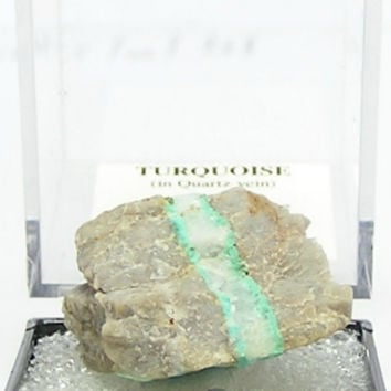 Turquoise vein in Rock Matrix Natural Thumbnail Mineral, Gemstone Geo Specimen mined the Arkansas Mona Lisa Mine from an estate collection