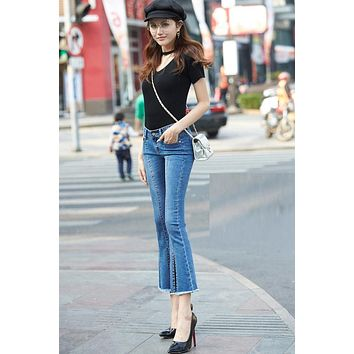 Solid Color Bell-bottomed Split 9/10 Jeans Denim Pants