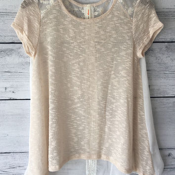 SLUBBED KNIT HI LO HEM TOP