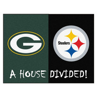Green Bay Packers-Pittsburgh Steelers NFL House Divided NFL All-Star Floor Mat (34x45)