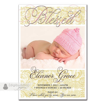 Girl Birth Announcement Vintage Pink Khaki Damask Blessed Elegant Typography Script & Bible Verse DIY Digital or Printed - Eleanor Style