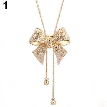 Fashion Elegant Sweet Crystal Rhinestone Bow Bowtie Pendant Necklace Popular Goods = 1958331588