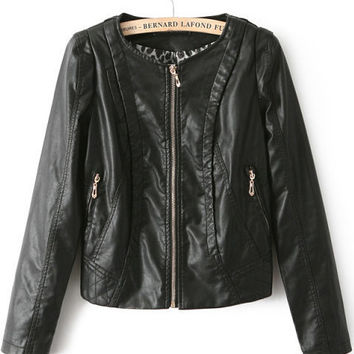 Black Leather Front Zipper Cropped Jacket with Animal Print Accent