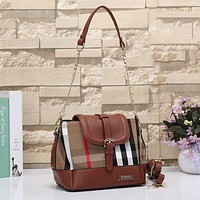 Burberry Women Fashion Leather Satchel Shoulder Bag Crossbody