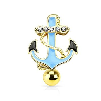 BodyJ4You  Top Mount Nautical Anchor Goldtone Belly Button Ring