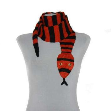 Snake Scarf  /  Hand Knit Scarf  /  Black and orange scarf / animal scarf