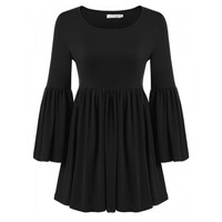 Women Casual O-Neck Solid Long Flare Sleeve Flared Ruffle Elastic Pullover Blouse Top