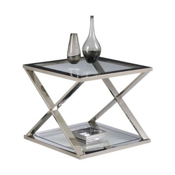 GORA STAINLESS STEEL TEMPERED GLASS END TABLE