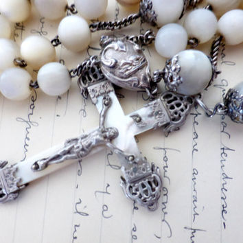 Antique French, Mother Of Pearl and Hallmarked Silver, Large Rosary, SHIPPING INCLUDED