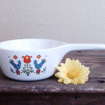 Vintage Corning Ware Country Festival Bird Pattern 1.5 Pint Pan, Blue Birds, Orange and Red Flowers