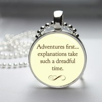 Adventures First Alice In Wonderland Glass Tile Bezel Pendant
