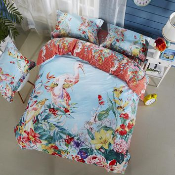 Svetanya American Style Cotton Quilt Cover Set Bird Print Bedding Sets Bedlinen Full Queen King Size for Kids Teens Adults