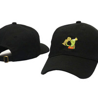 Kermit The Frog None Of My Business Meme NBA Championship Trophy Lebron James Kobe Michael Jordan Black Strapback Hat Baseball Cap