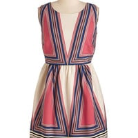 ModCloth Vintage Inspired Mid-length Sleeveless A-line City of Angles Dress