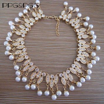 PPG&PGG New Fashion Gold Color Jewelry Women Bijoux Imitation Pearl Chain Crystal Tassel Choker Bib Statement Necklaces