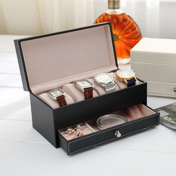 ac NOOW2 High grade Arbon fiber leather Jewelry storage Box Container Boxes watch Casket with drawer organizer watch jewelry box display