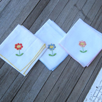 Set of 3 Embroidered Daisy Hankies - Blue Daisy Handkerchief; Pink Daisy Hankie; Red Daisy Hankie - Mod Flower Handkerchiefs