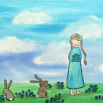 Kids Wall Art, Whimsical Original Painting, Woodland Nursery, Girl and Rabbits