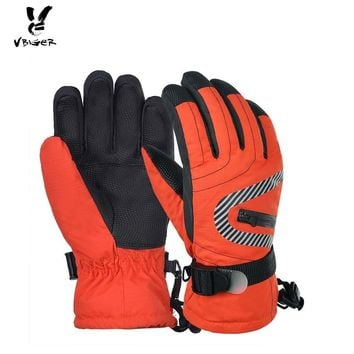 VBIGER Kids Winter Warm Gloves Waterproof Thicken Zipper Gloves Mitten Children Kid Ski Sports Outddor Gloves Adjustable Strip
