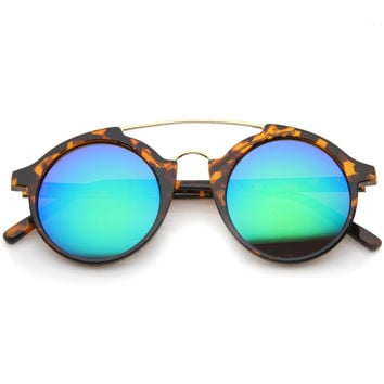 Retro Round Horned Rim Mirror Lens Sunglasses A192