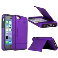CoverBot Pocket Stash Wallet Case with Stand for iPhone 5C - Purple