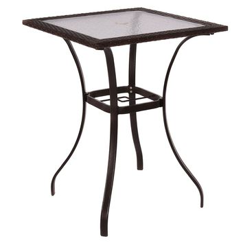 Outdoor Patio Rattan Wicker Bar Square Table Glass Top Yard Garden Furniture NEW