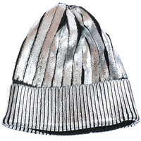 Foiled Metallic Knit Beanie Hat