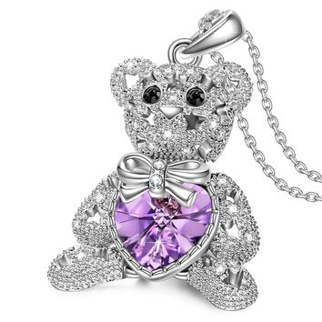 "NINA ""Bucci Bear-Be Optimistic"" Teddy Bear Style Pendant Necklace. Made with Swarovski Crystals, Adored with Star-shaped Hollow."