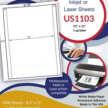 US1103 - 7.5'' x 11 '' label on a 8 1/2'' x 11'' sheet Inkjet or Laser Labels.