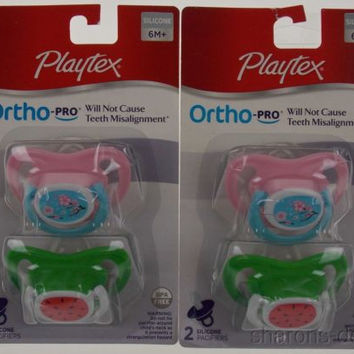Playtex OrthoPro Silicone Pacifiers 6m+ Pink Green Set 2 Baby Flowers Watermelon