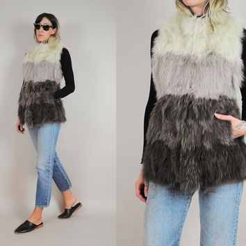 Ombre Stripe FOX FUR Vest