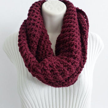 INFINITY SCARF Loop Cowl. Maroon Infinity scarf, Circle Scarf, Cowl, Fall Fashion Accessories. Ready to ship. Choose your color.