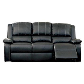 Jennica Transitional Bonded Leather Sofa Recliner, Black