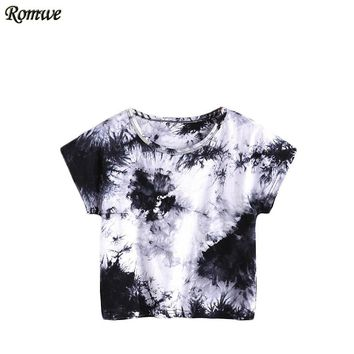 Summer Women's Tee Shirts Women Tops Summer Black And White Water Color Tee Short Sleeve Tie Dye Casual T-shirt