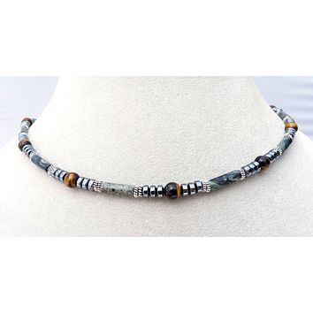 Jasper Mens Chakra Necklace, Crystal Healing Stones ASSERTIVE ENERGY - Jewels for Gents
