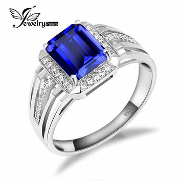 Blue 4.3ct Sapphire Ring For Men Rings Hot Sale Solid 925 Sterling Silver Jewelry  Fashion Engagement Wedding Jewelry Gift