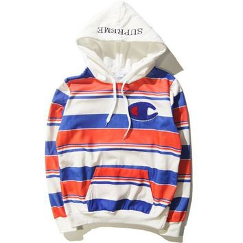 DCCKUNT Supreme Print Unisex Lover's Stripes Loose Hoodies pullover Sweater
