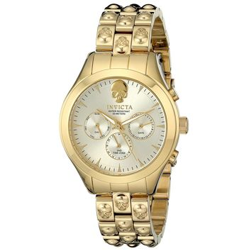Invicta 16939 Women's Angel Gold Dial Gold Tone Steel Skull Bracelet Watch