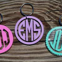 "FREE SHIPPING Monogrammed 2"" Acrylic Keychain"