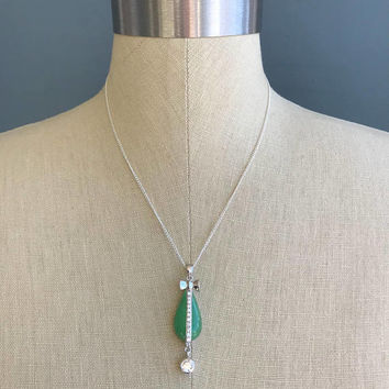 Vintage 925 Sterling Silver Green Jade Teardrop Bow Rhinestone accent drop pendant necklace on 18 inch petite Chain -stunning!