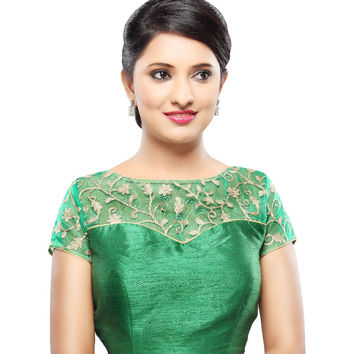 Designer Green Net Back Open Ready-made Saree Blouse Choli SNT X-356-SL