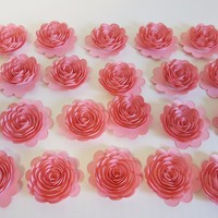"""24 Piece Pink Carnations, 1.5"""" Scalloped Paper Flowers, Small Roses Decorating Girl Baby Shower"""