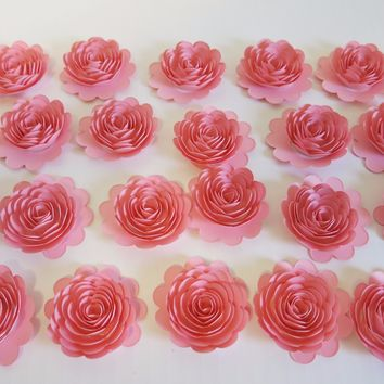 "24 Piece Pink Carnations, 1.5"" Scalloped Paper Flowers, Small Roses Decorating Girl Baby Shower"