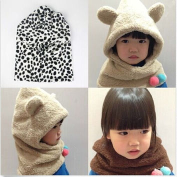 New Toddler Infant Fleece Warm Winter Hat Cap Coif Hood Scarf Set For Baby Kid = 1958262084