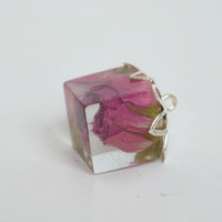 Real rose pendant - rose flower pendant - real flower pendant - romantic pendant - resin jewelry - botanical jewelry - nature jewelry -p0029